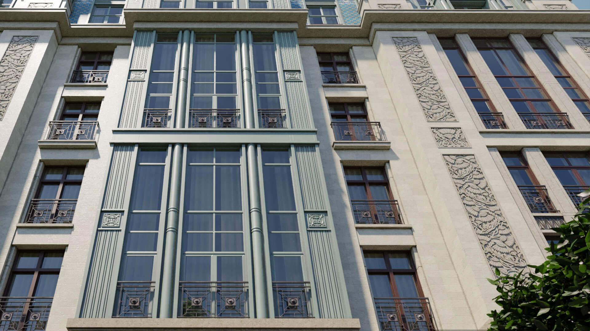 Фасад двухуровневой квартиры