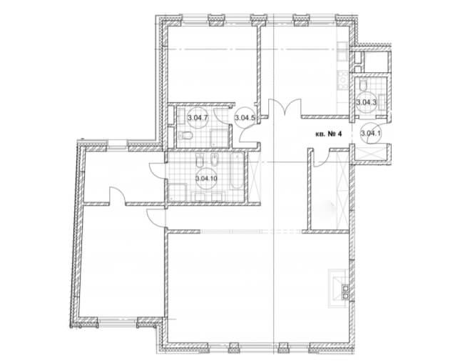планировка квартиры 3 этаж, 3 комнаты, 152,2 м.кв. в Дом Бакст