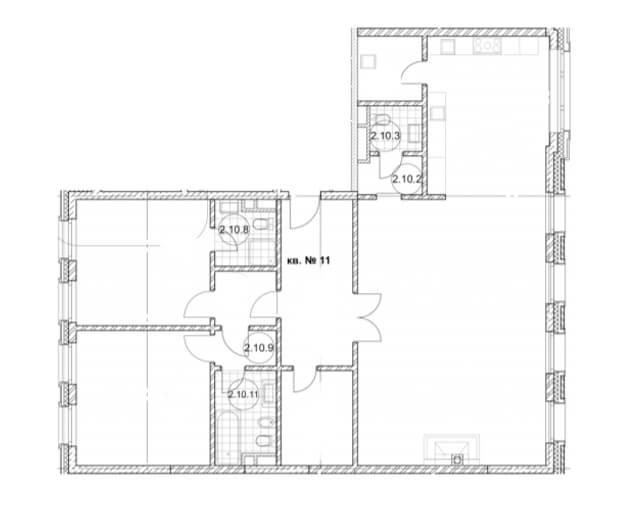 планировка квартиры 2 этаж, 3 комнаты, 155,8 кв.м. в Дом Бакст