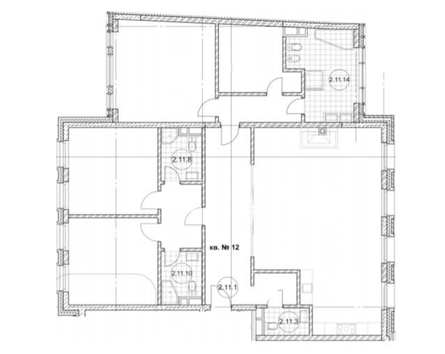 планировка квартиры 2 этаж, 4 комнаты, 118,2 м.кв. в Дом Бакст