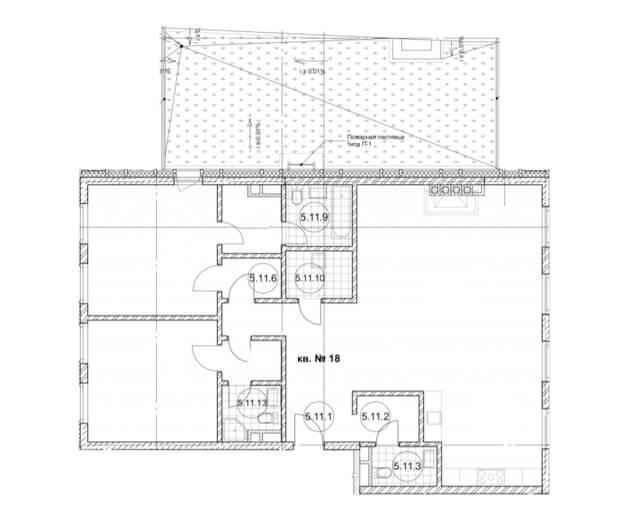 планировка квартиры 5 этаж, 3 комнаты, 130,7 м.кв. в Дом Бакст