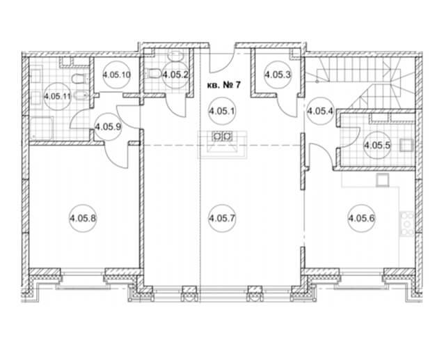 Планировка двухуровневой квартиры первого уровня жк Дом Бакст