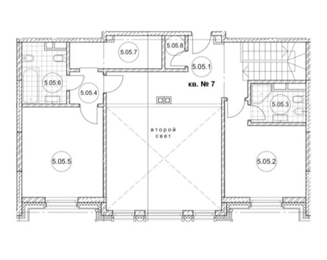 Планировка второго уровня двухуровневой квартиры жк Дом Бакст